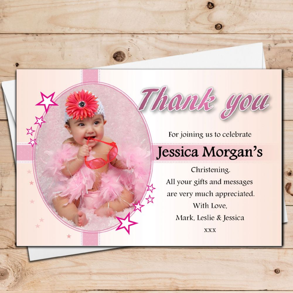 10 Personalised Girls Christening Baptism PHOTO Thank you Cards ...